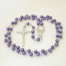 Rosary Beads for A Girl or Boy, Purple Pearls